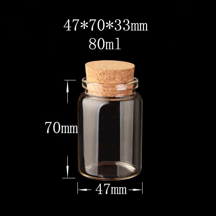 477033mm 80ml Beautiful Glass Jars Bottles With Cork Empty Glass Bottles Wish Bottles Wood Stopper 12