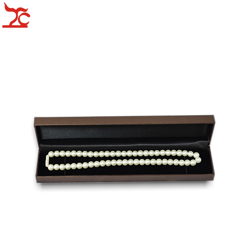High Quality Necklace Jewelry Display Case Brown Bead Chain Bracelet Pendant Storage Organizer Gift Box 22.8*5*2.8 cm