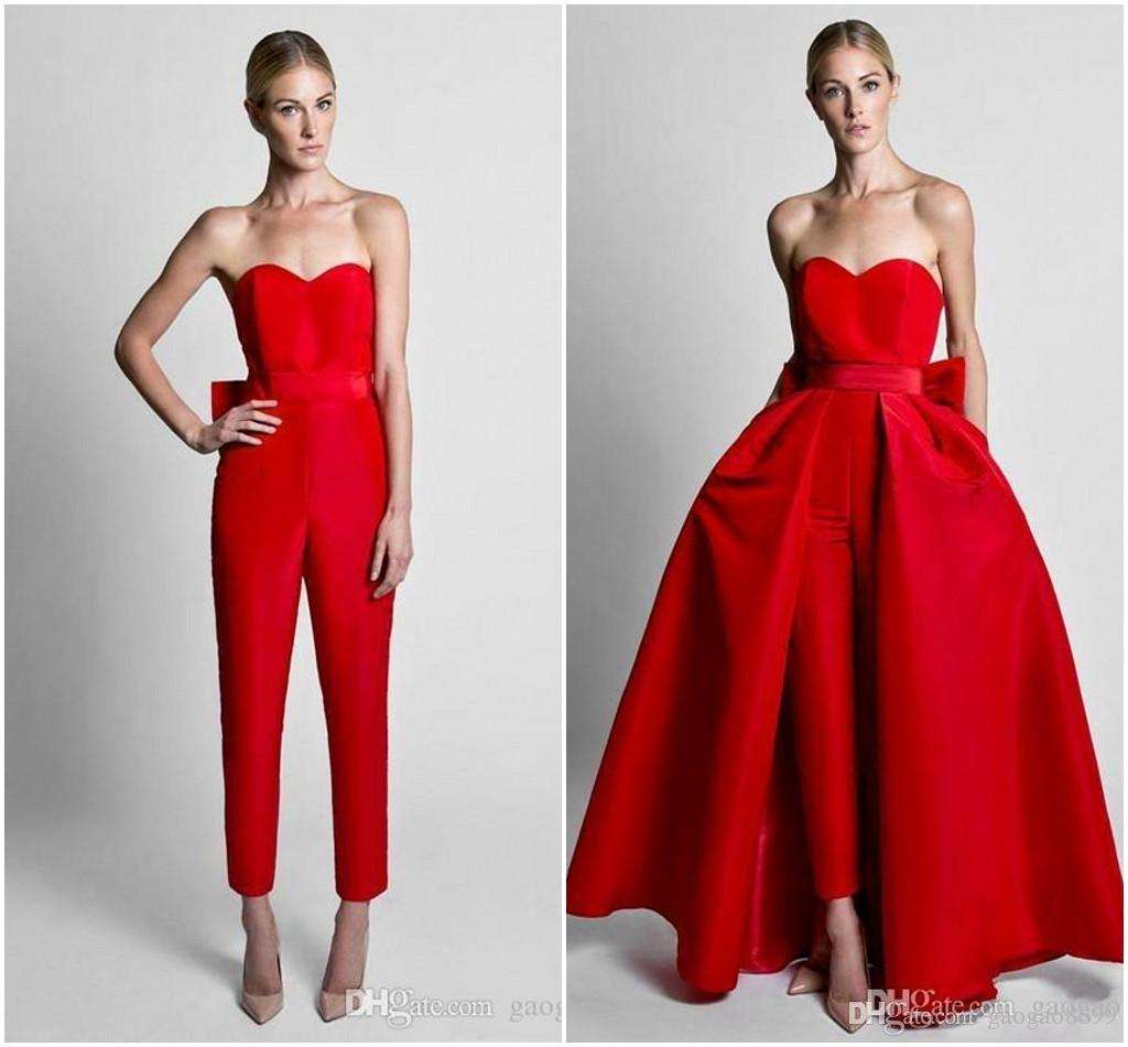 Krikor Jabotian Red Jumpsuits Formal Evening Dresses With Detachable Skirt Sweetheart Prom Dresses Party Gowns Wear Pants for Women Hot Sale
