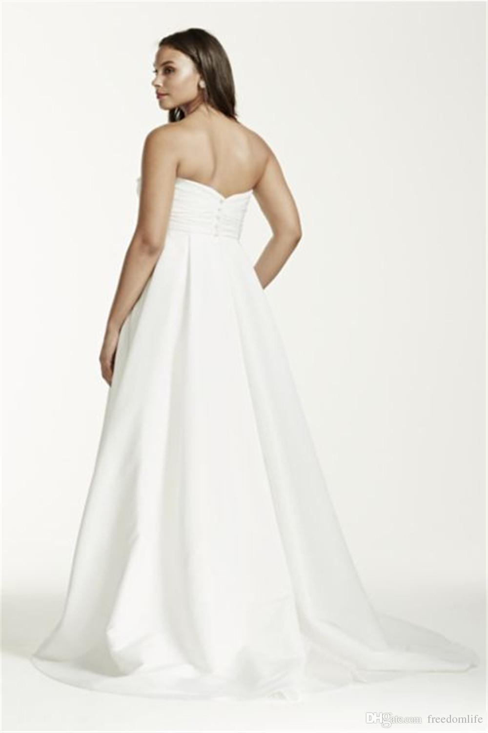 Beautiful Simple Ruched Bodice Plus Size Maternity Wedding Dresses Taffeta Bridal Gowns Sweetheart Backless 2016 Wedding Dress With Pocket