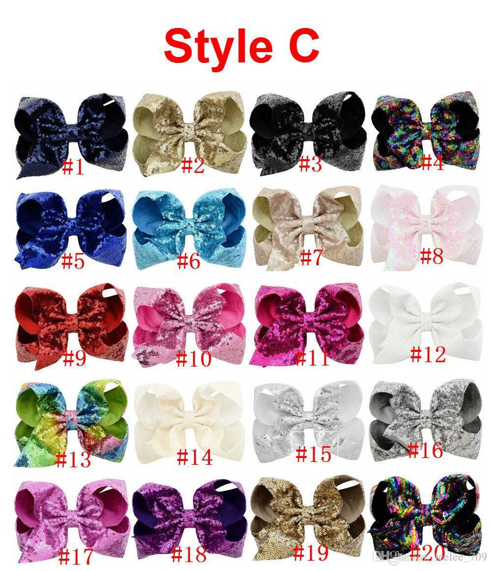 8 Inch Jojo Rhinestone Hair Bow With Clip For School Baby Children Pastel Bow 10 Style