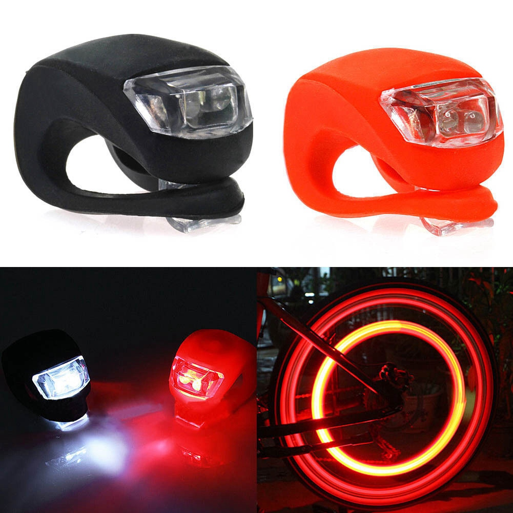 20 PCES Waterproof SILICON LED BIKE LIGHT SET 2LED Front Rear Safety Light