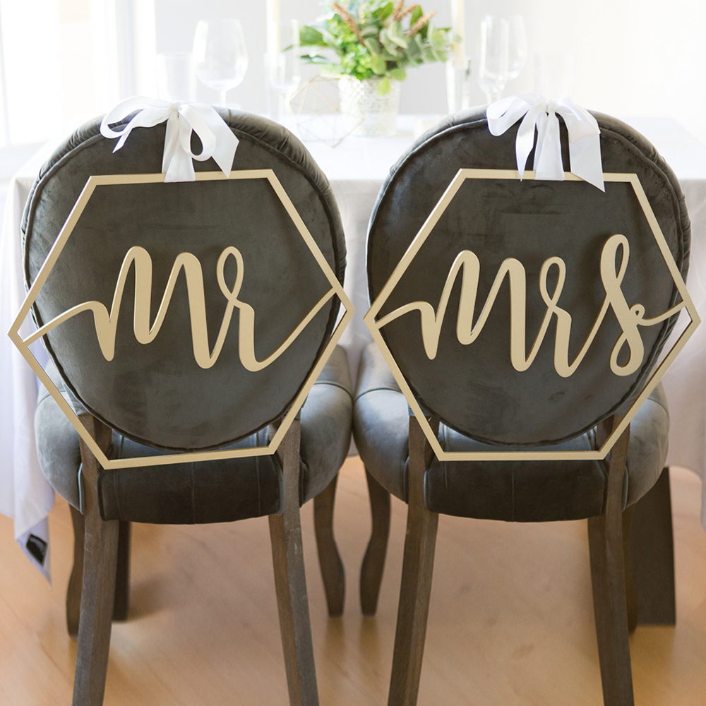 Wood Chair Banner Chairs Sign Diy Decoration For Engagement Wedding Party Supplies Bride&groom/mr&mrs/better&together Q190606