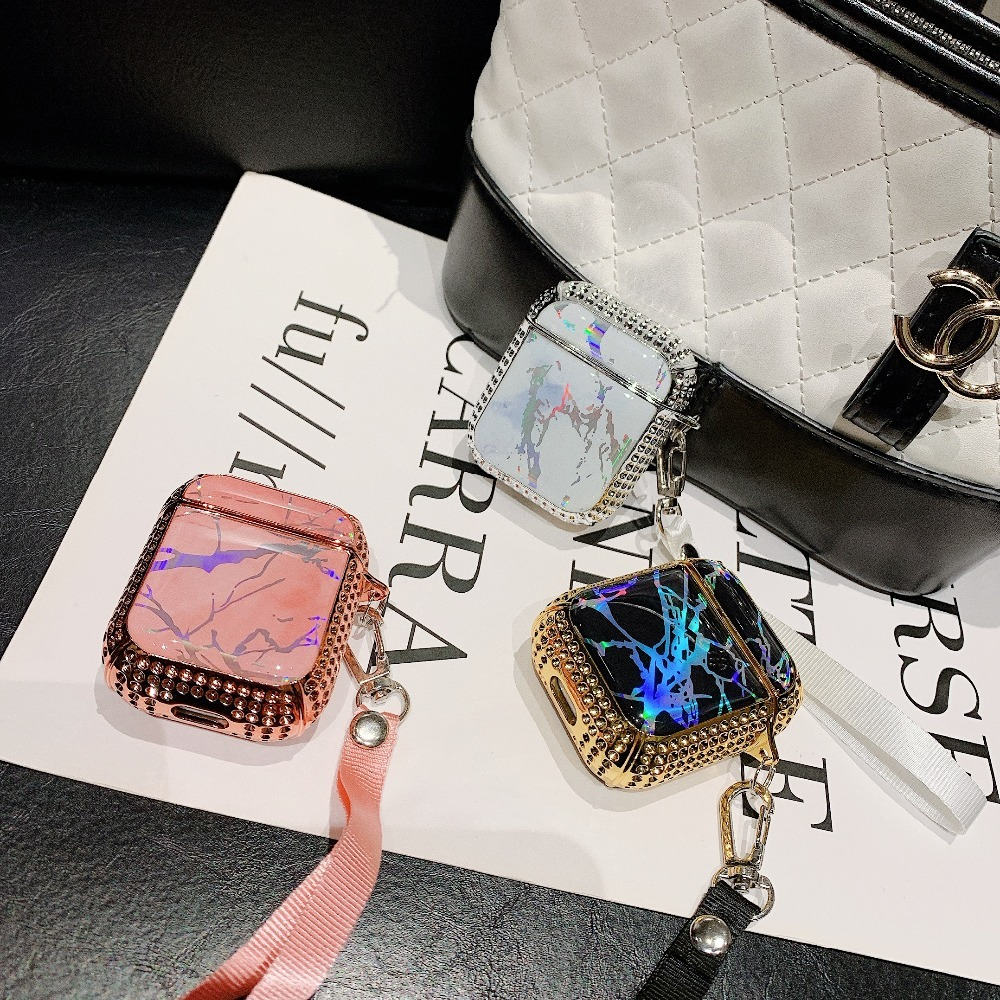 Glitter Rhinestone Cases For Airpods 2 Funda Bluetooth Wireless Earphone Girly Marble Cover For AirPods Charging Box Case +Strap (5)