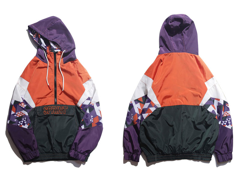 Color Block Patchwork Hooded Jackets 1