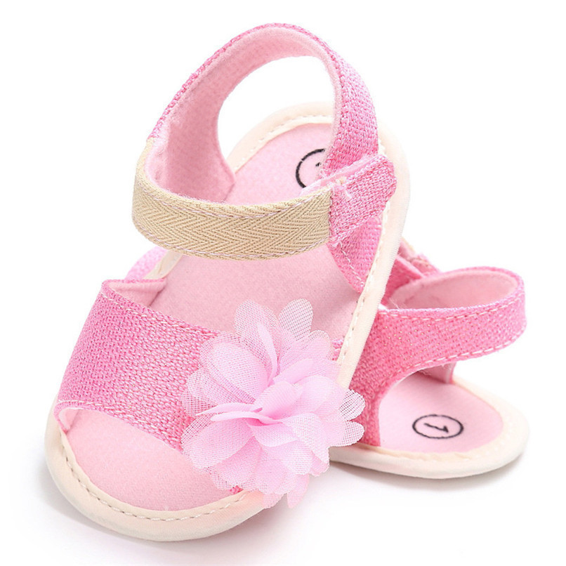 Summer Baby Girl Shoes Newborn Toddler Baby Solid Canvas Flower Sandals Soft Sole Anti-slip Shoes Baby Girls Sandals JE25#F (7)