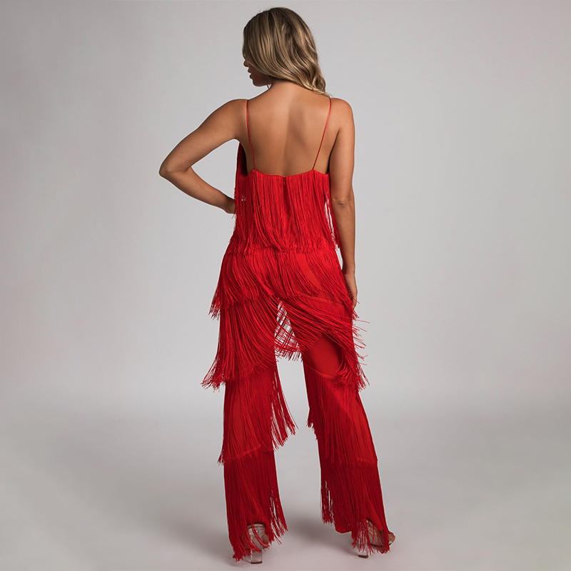 Nattemaid V Neck Backless Halter 2018 Summer Jumpsuit Bandage Casual Sexy Club Tassel Rompers Womens Jumpsuit White Black Red Y19060501