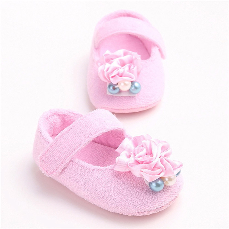 Baby Girls Shoes Fashion Newborn Infant Baby Girls Flower Pearl Soft Sole Anti-slip Princess Shoes Baby First Walker JE25#F (18)