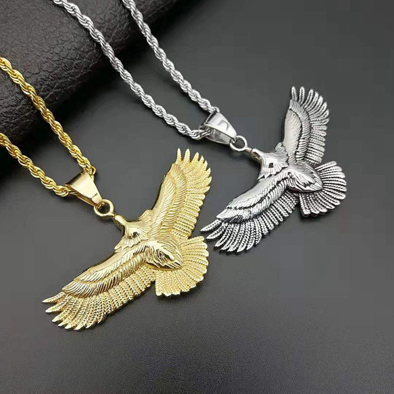Stainless Steel Mens Jewelry Eagle Wings Red Stone Inlaid Pendant Necklace with 24 Chain