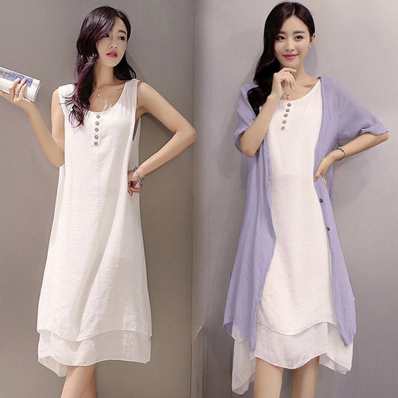 Easehut Elegant Boho Plus Size Dress Literary Style Cotton Linen Beach Holiday Midi Loose Summer Dress 2019 Vestidos J190530