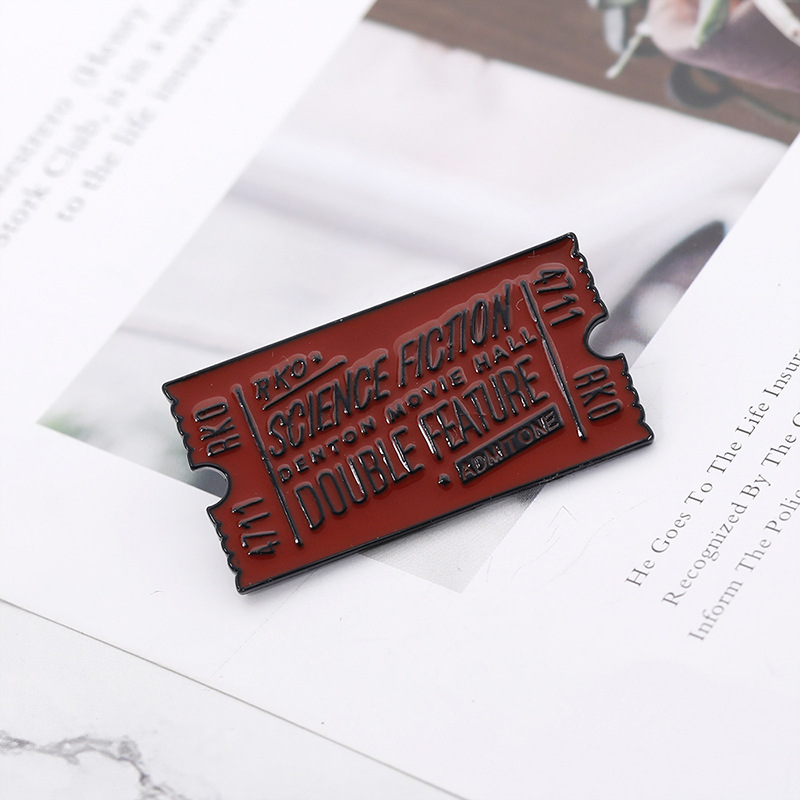 Rocky Horror Movie Ticket Brooch SCIENCE FICTION,DOUBLE FEATURE Enamel Pin Lapel Pin Badge Red Black Ticket Brooches Broche