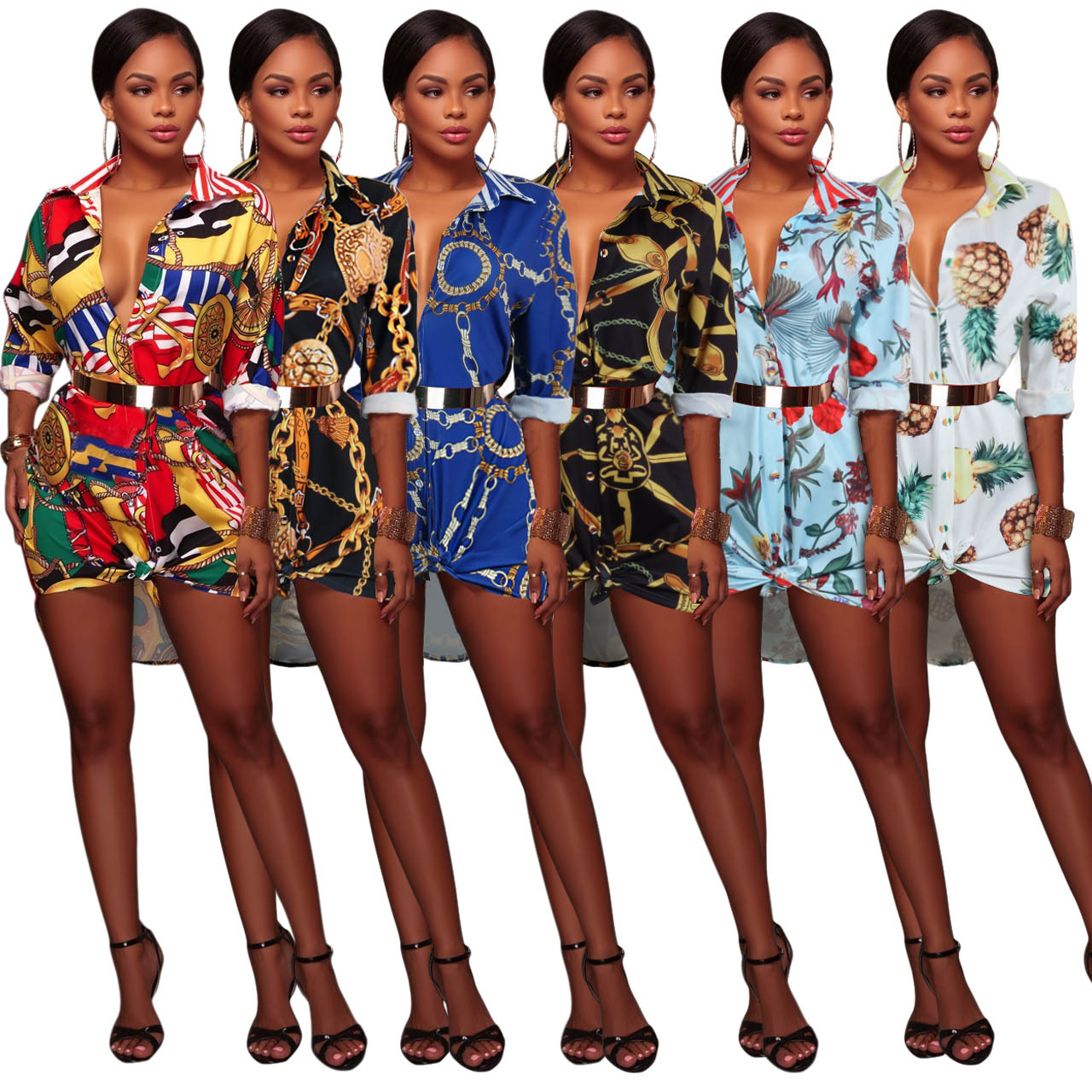 2019 Women's Summer Sexy Floral Print Simple Button Down Long Sleeve Collar Loose T-Shirt Blouse Tops Mini Dress Short Dress