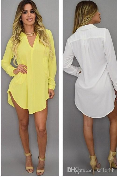 Designer Dress Summer Sexy V Neck Short Beach Dress Chiffon White Mini Loose Casual T Shirt Dress Plus Size Women Clothing