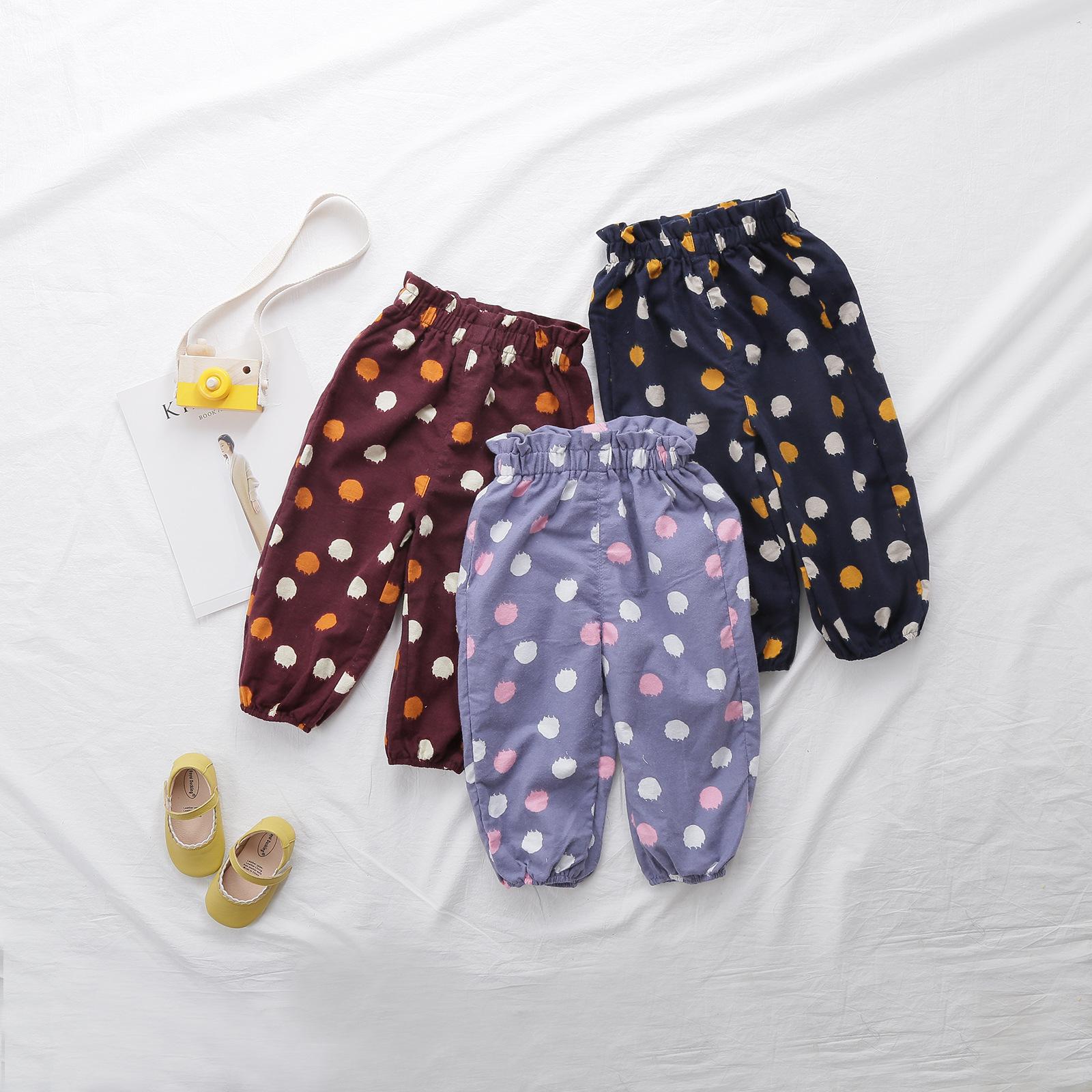 Baby Girls Pants Kids Girl Cotton Colorful Dot Printed Vintage Roupas Infantis Bottoms Trousers Long Pants Toddler Girl Clothes