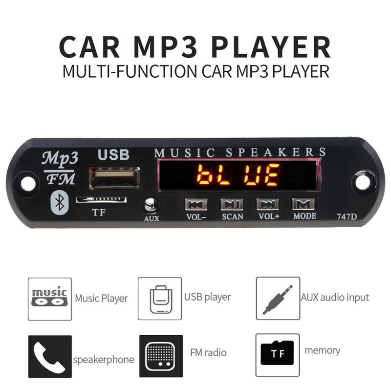 With Mic Handsfree Bluetooth MP3 Decoder Board Car FM Radio Module Support FM TF USB AUX Audio Player Bluetooth car kit 12V3