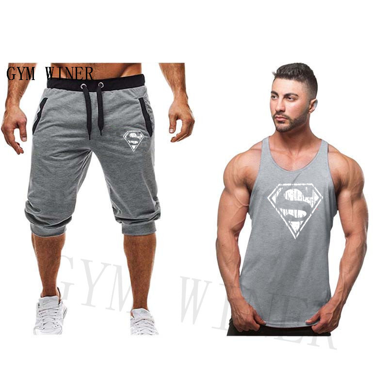 2019 Fashion New Tracksuit Men Two Piece Short Pant+tank Top Summer Cool Sweatshirts Suit Male Chandal Hombre Jogging Homme Suit MX190718
