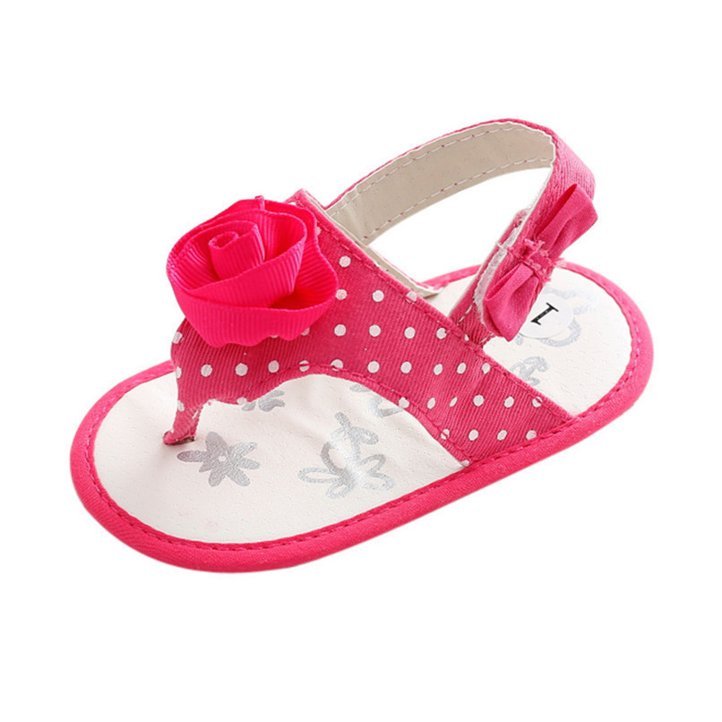 Summer Baby Girls Shoes Toddler Newborn Baby Girls Flower Dot Sandals Soft Sole Anti-slip Shoes Baby Girls Sandals M8Y16 (1)