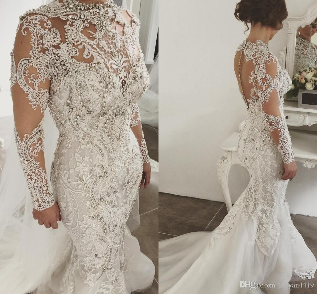 Luxurious High Neck Mermaid Wedding Dresses Crystals Long Sleeve Bridal Gown New