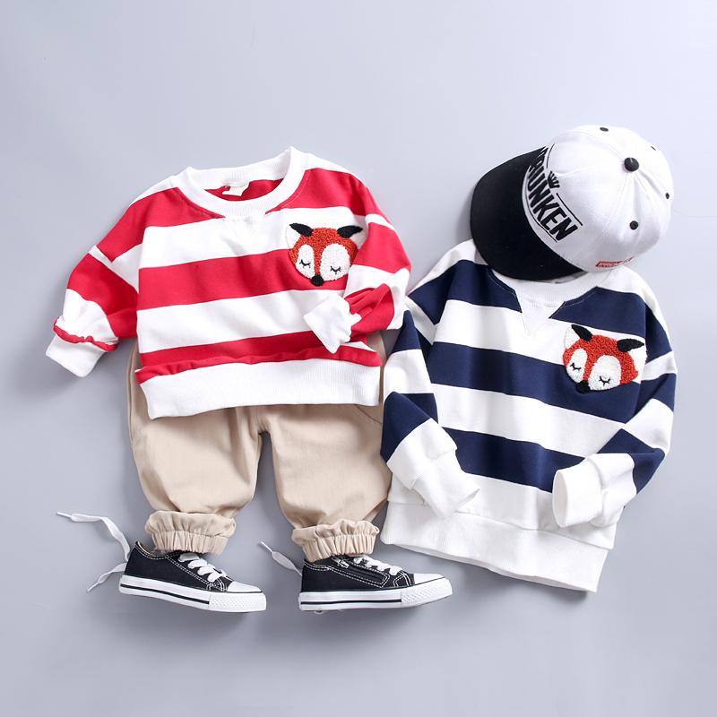 Spring Autumn Infants Clothing Kids Cartoon Striped T-shirt Pants /Sets Children Cotton Tracksuit Baby Boys Girls Clothes