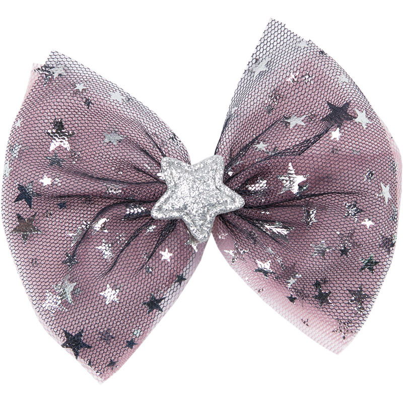 Boutique ins Fashion Cute Glitter Star Bow Hairpins Solid Big Mesh Bowknot Fairy Hair Clips Princess Hair Accessories
