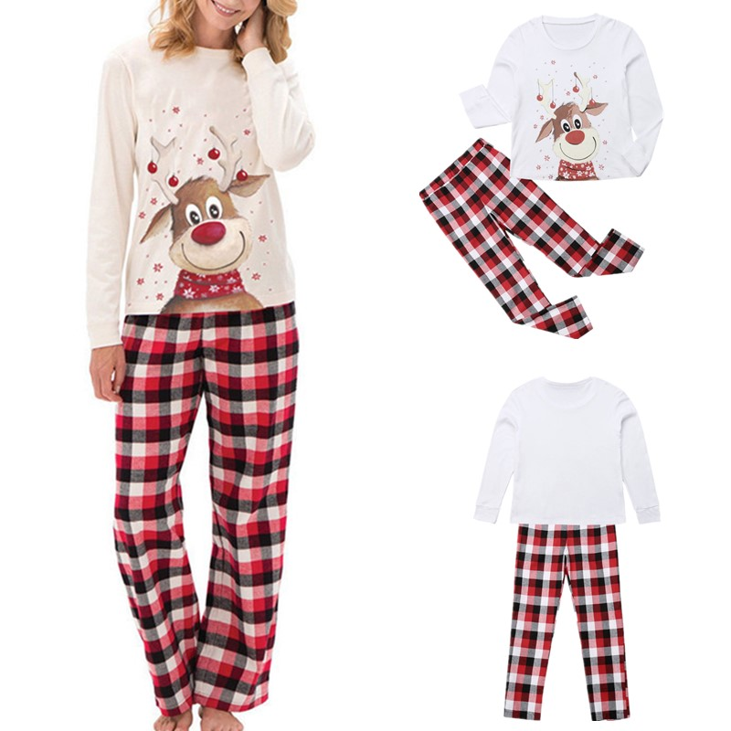 Leisure Plaid Christmas Reindeer Cotton Long Sweatpants for Youth Jogger Pants for Men