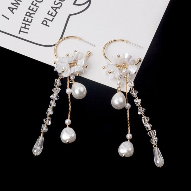 schöne 8mm weiße Muschel Perle Hochzeit 18 KGP Blume Ring