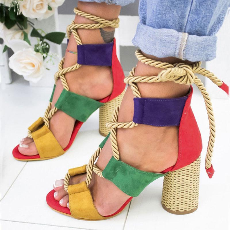 Sandales pour femmes à lacets, chaussures d'été, talons de femme, sandales pointues, bouche de poisson, sandales gladiateur, escarpins pour dames,