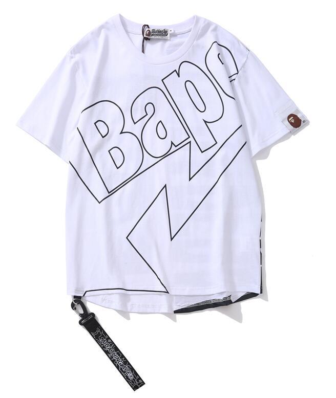 Hot BAPE A BATHING APE Mens T-shirt Crew Neck Monkey Head Short Sleeve Tee Tops