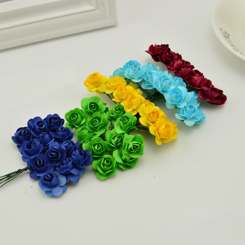 144pcs-1cm-cheap-Artificial-Paper-flowers-for-Wedding-car-fake-Roses-Used-For-decoration-Candy-box(3)