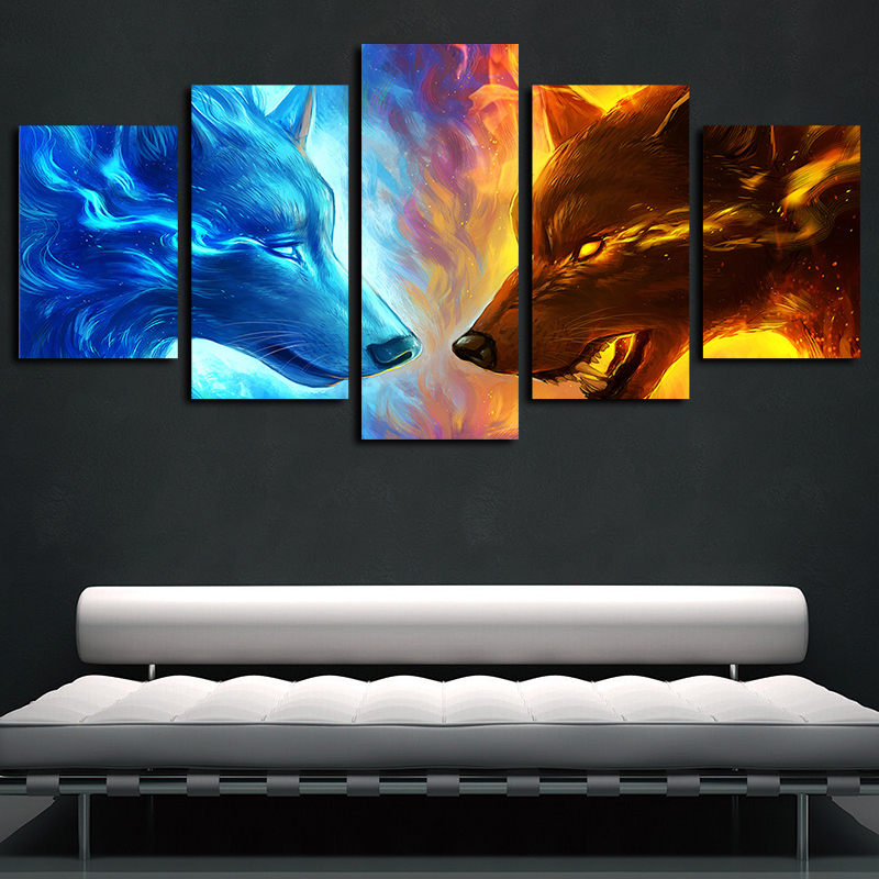 Animals Wolf Canvas Print Painting Modern Wolves with Moon Wall Art Giclee 5 PCS