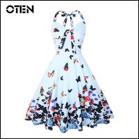 IHOT-Summer-Clothes-Women-Halter-butterfly-flower-print-bowknot-pin-up-Rockabilly-Feminino-Vestidos-1950s-flared