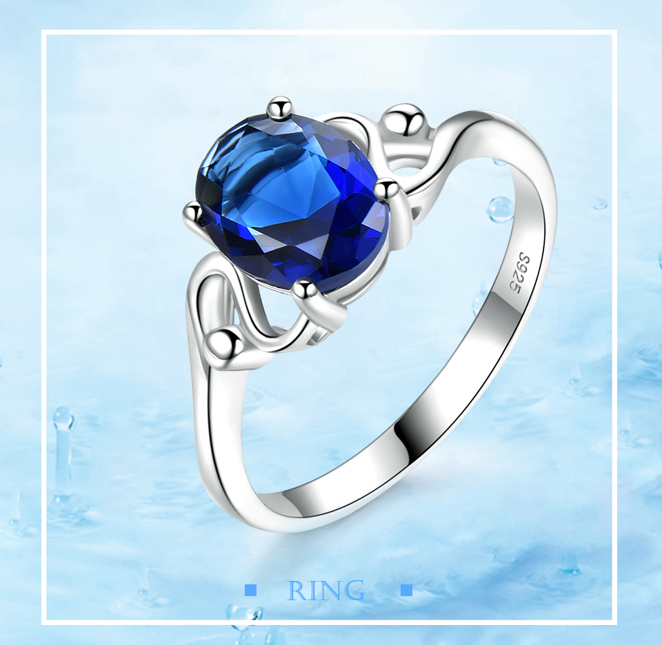 UMCHO Sapphire 925 sterling silver rings for women RUJ089S-1-PC (1)
