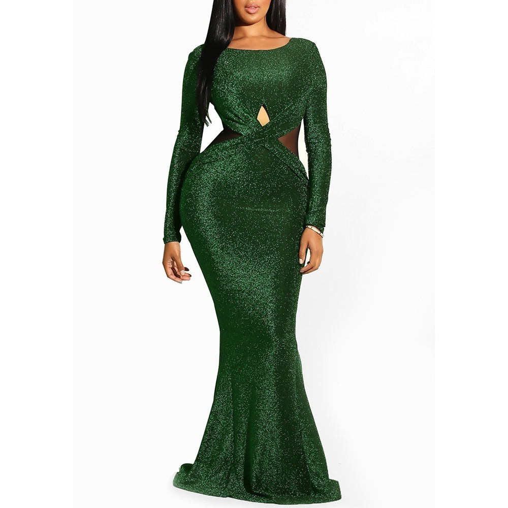 Großhandel Clocolor Elegante Pailletten Grün Backless Damen Sheer Abendmode  Frauen Meerjungfrau Enge Party Club Lange Sexy Kleid Bodycon Q16 Von