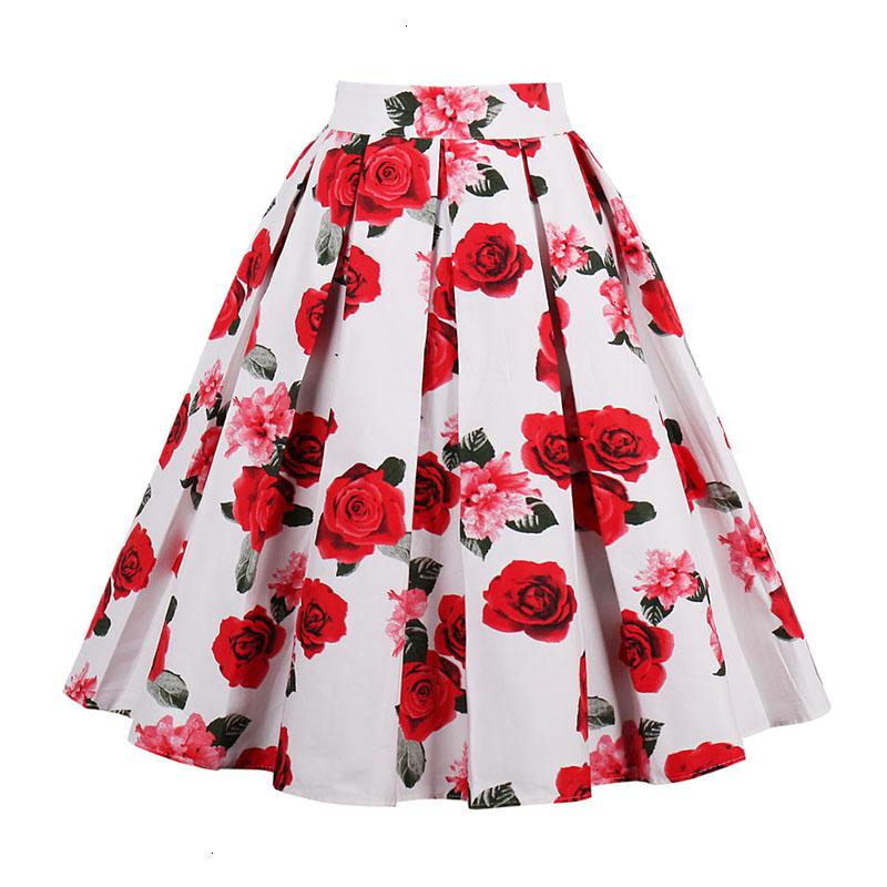 Kostlish Retro Print Flower Summer Skirts Womens High Waist Vintage Skirt Elegant A-Line Midi Women Skirt Plus Size XXL 22 (9)