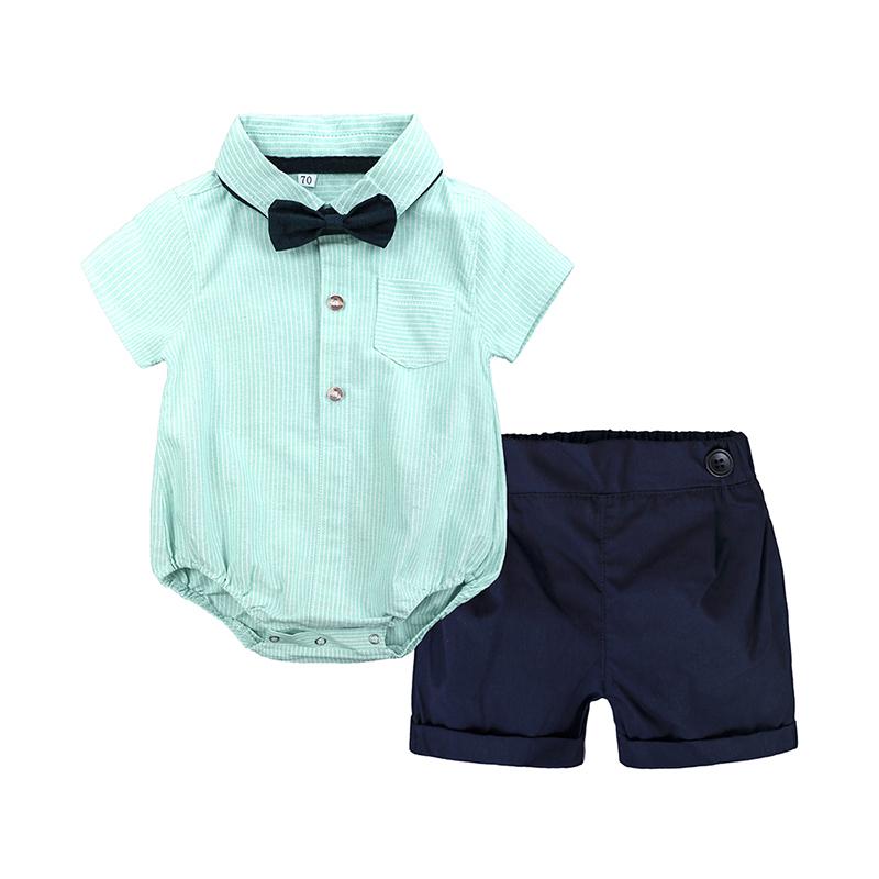 2pcs summer baby boy clothes short sleeve Stripe shirt style bodysuit+shorts clothing set gentleman suit for 6-24M Party costume
