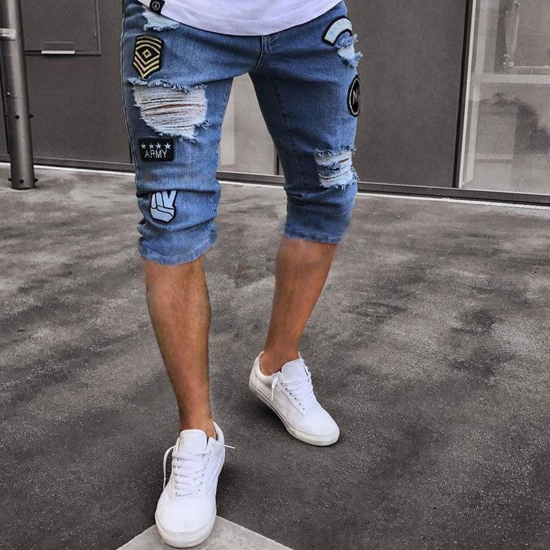 Pop2019 European Trend Personality Men's Wear Popular High Street Holes Patch Beggar Pants Elastic Force Cowboy Shorts