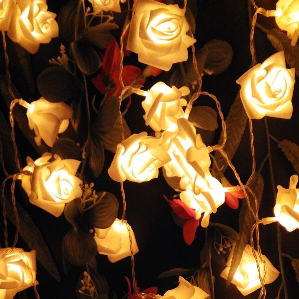 fashion 20pcslot Holiday Lighting LED Novelty Rose Flower Fairy String Lights Wedding Garden Party Christmas Decoration party (1)