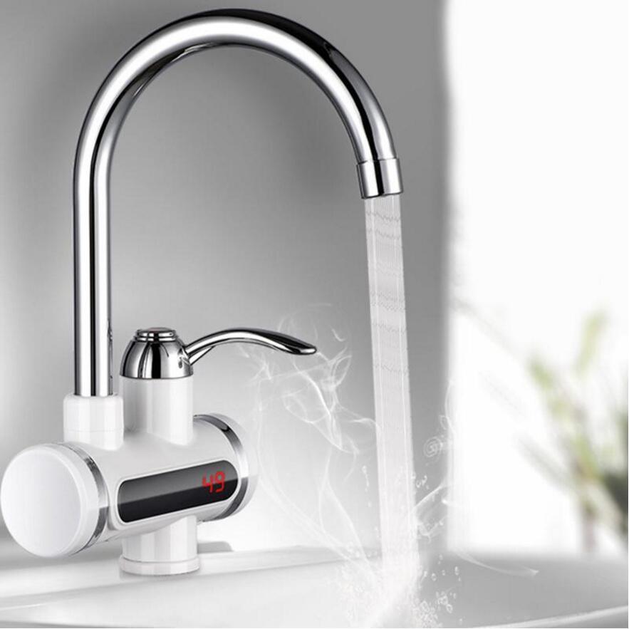 Cuisine r/étro eau chaude et froide 360 degr/és de rotation intelligent lcd chauffage /électrique robinet de cuisine robinet deau chaude instantan/ée chauffe-eau sans r/éservoir