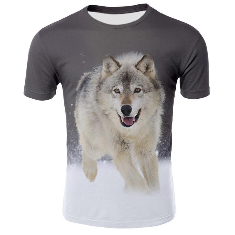 Unisex Kids Boys Girls 3D Animal Wolf Print Shirt Short Sleeve T-Shirt Loose Top