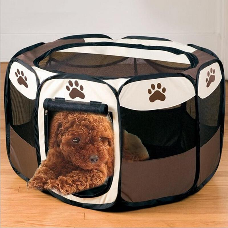 Portable Folding Pet Tent Dog House Cage Dog Cat Tent Playpen Puppy Kennel Easy Operation Octagonal Fence Outdoor Supplies SH190713