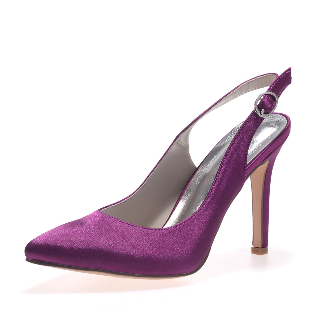 2019 Only - Creativesugar purple satin evening dress shoes pointed toe slingback bridal wedding prom cocktail heels lady pump