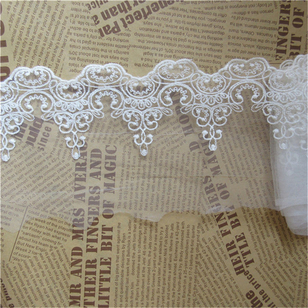 En Coton Noir Motif Floral Bordure En Dentelle Festonnée Brodée Ruban pour bricolage Robe