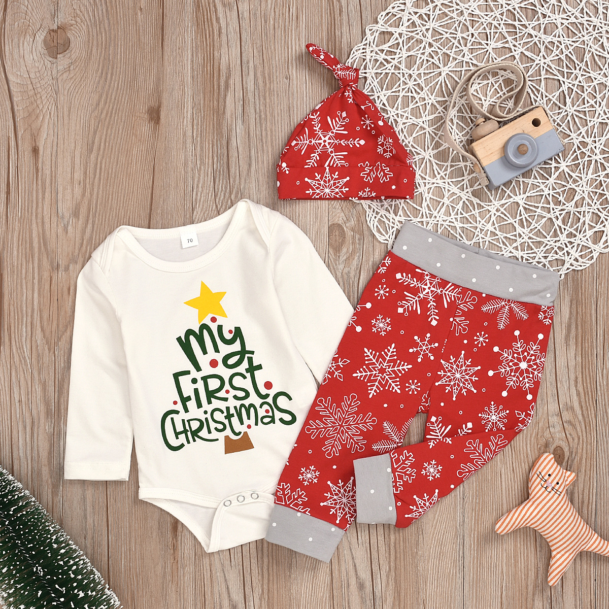 First Christmas Newborn Baby Boy Girl Xmas Cotton Romper Jumpsuit Outfits Cloth