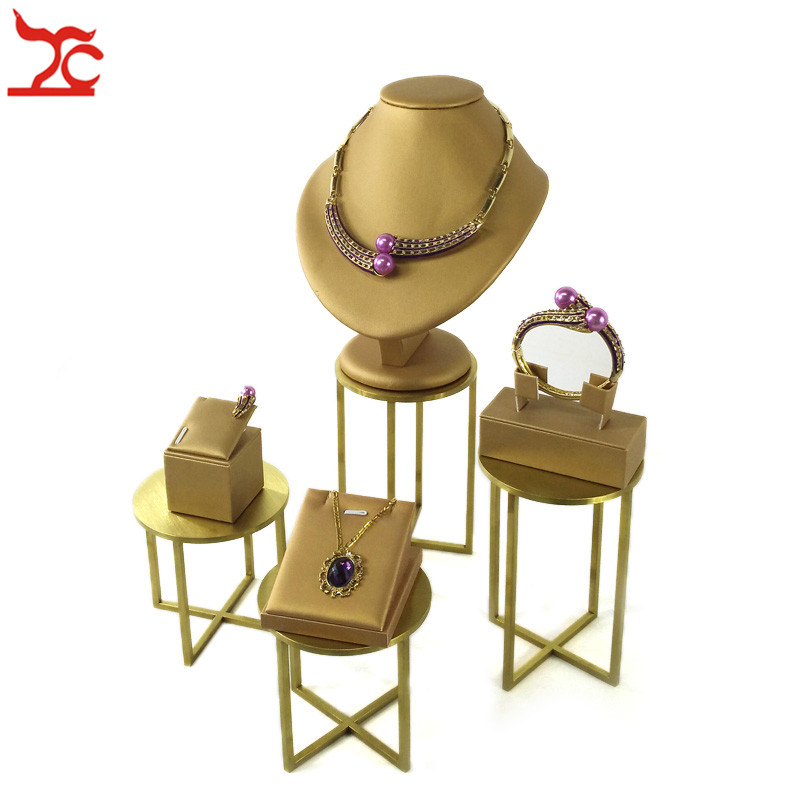 Gold PU Jewelry Display Rack Stainless Steel Counter Store Window Shelf Earring Bangle Necklace Pendant Organizer Holder Stand