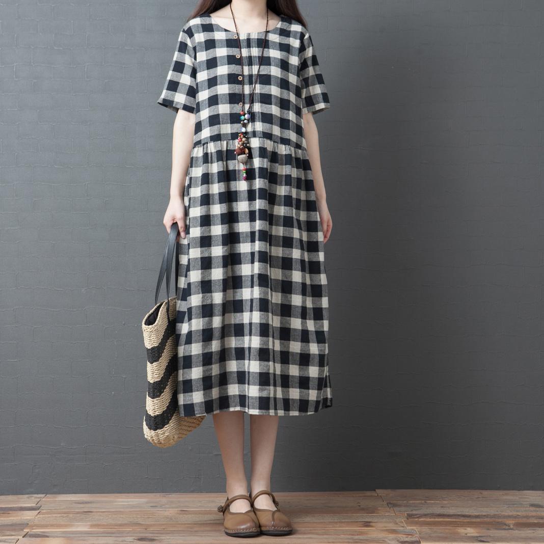 baumwolle leinen serie # sommerkleid frauen vintge plaid lange kleider lady  loose plus größe casual strandkleider