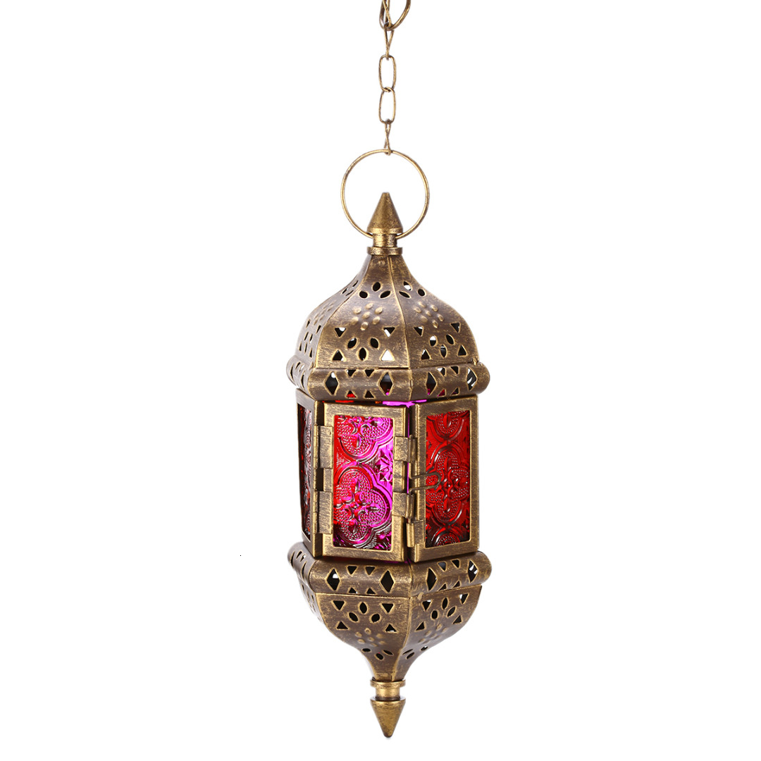 Mayitr 1pc Moroccan Style Wall Hanging Candle Holder Classic Metal Candle Stick Candle Lantern for Wedding Party Home Decoration