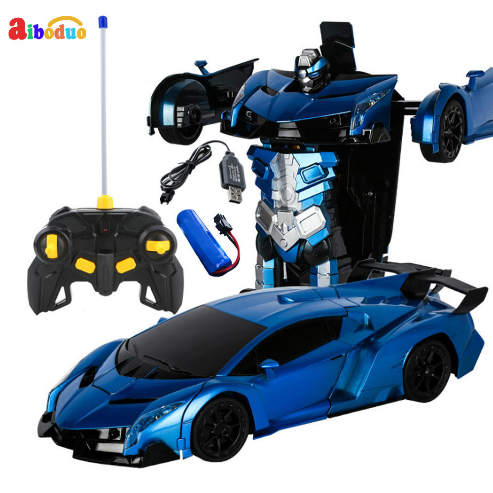 2 In 1 Robot Car RC Deformation Car Toys Model Transformation Remote Control Battery Deformation Sports Robots Kids Gift Toys