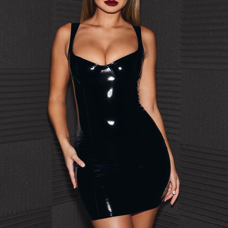 Bandage Leather Dress Bodycon Women Pu Leather Zipper Stripper Dress Mini Dress