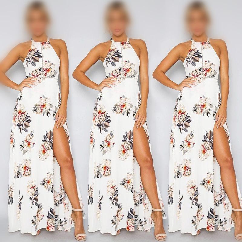 Nice Summer Women Long Maxi Dresses Bohemia O-neck Sleeveless Floral Print Ethnic Beach Lady Split Stylish Style Dress Dropship