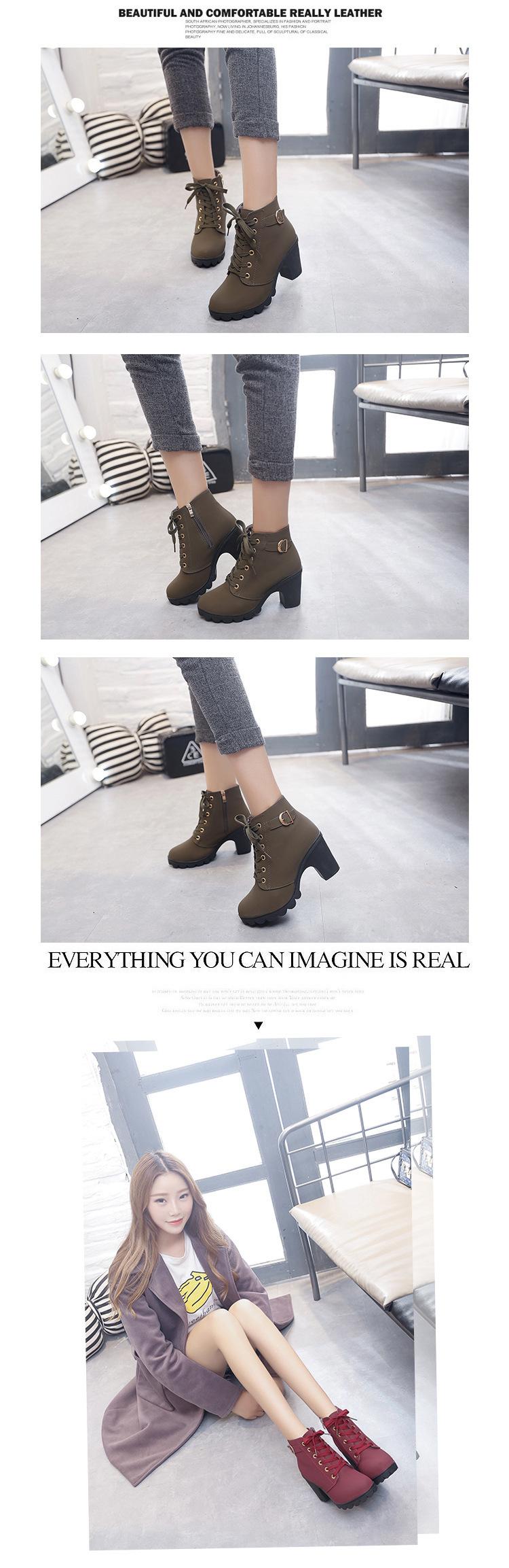 Stiefel Von Stiefeletten Frauen Herbst High Schnüren Schuhe Plus Ferse Heels Size Großhandel Dicke Kurze Reißverschluss Damen Plattform Schnalle j5q3LA4R
